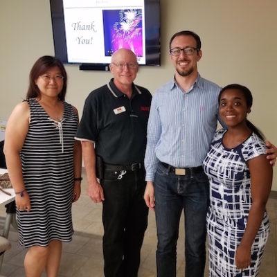 Jin Liang, Lloyd Johnson (instructor), Masoud Golshadi, and Eunice Awuah