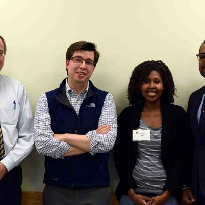 panelists Kent Goklen, Gregory Ray, moderator Jessica Elmore and panelist Chavez Carter