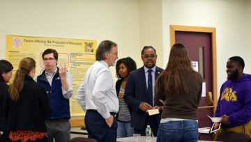 participants network with alumni at a careers in...event