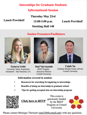 Flyer for Internships for Graduate Students Informational Session on Thursday, May 23, 2019.