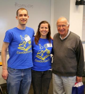 Robert MacDonald and Kristin Hook with Professor Roald Hoffman