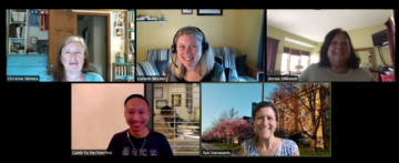 Five staff facilitators smile from Zoom windows