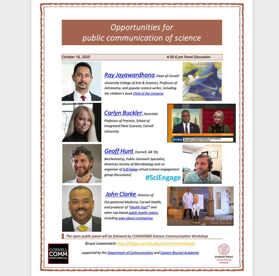 speakers for Oct 16 panel discussion on Opportunities for Public Communication of Science
