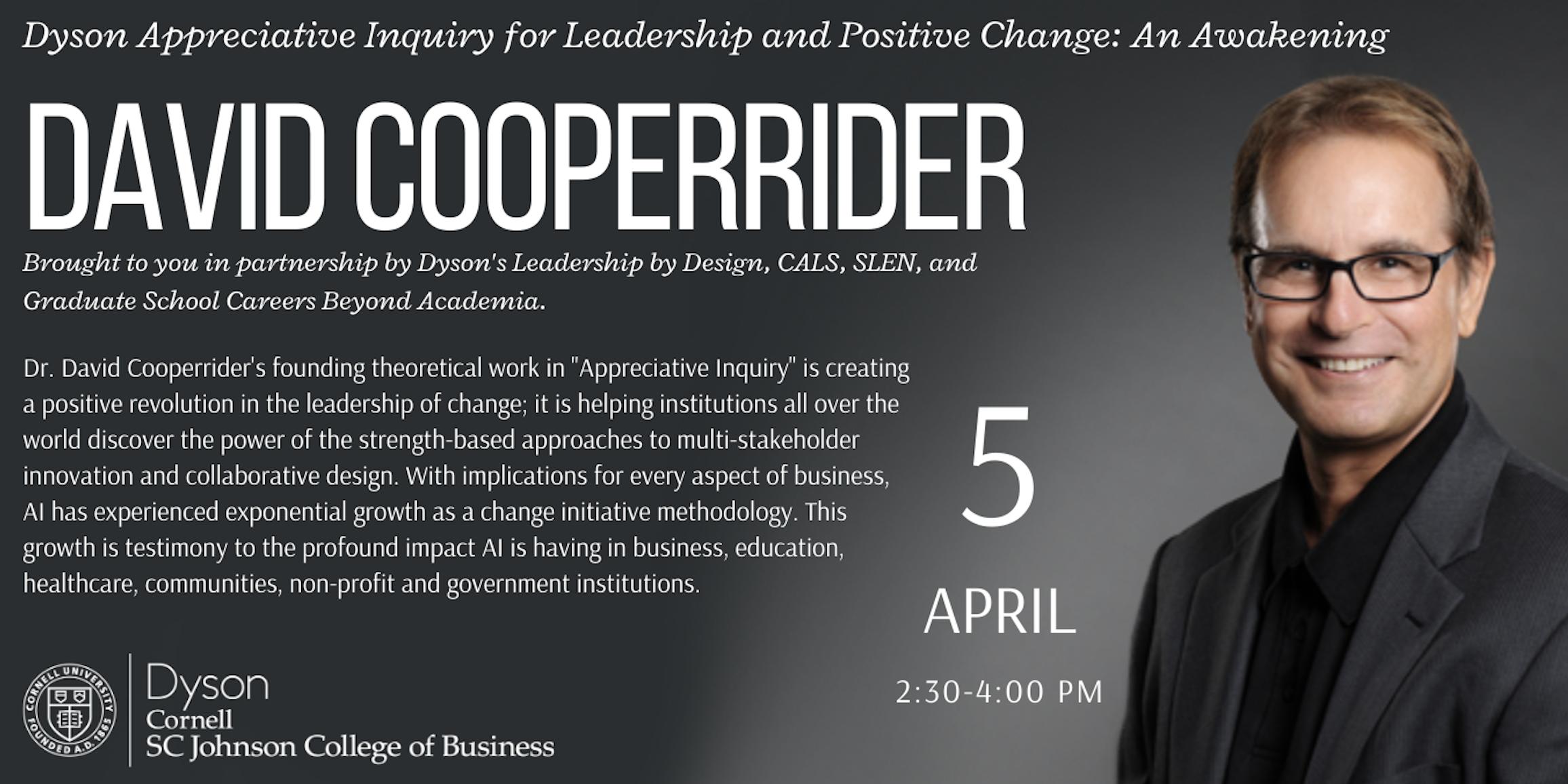 David Cooperrider Appreciative Inquiry workshop