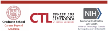 logos of Careers Beyond Academia, Cornell Technology Licensing, and the National Institutes of Health